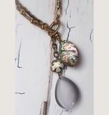 "Mark Edge Jewelry Abalone/Pyrite/White Cats Eye 24"" L"
