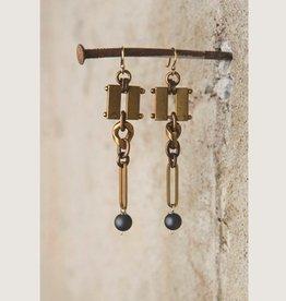 Brushed Hematite Earrings