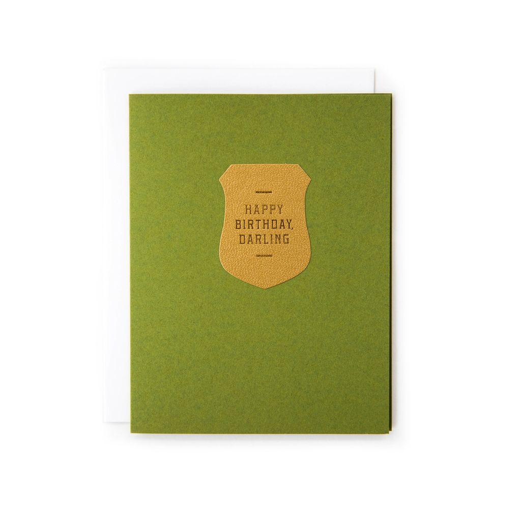 Happy Birthday Crest Card Blank Inside