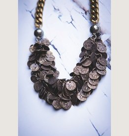 "Brass Ox Coin Chain, 16"" Pyrite Chain Necklace or Bracelet"