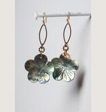 Mark Edge Jewelry Abalone Carved Flower Earrings by Mark Edge
