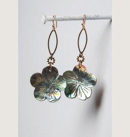 Abalone Carved Flower Earring