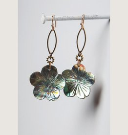 Mark Edge Jewelry Abalone Carved Flower Earrings by Mark Edge