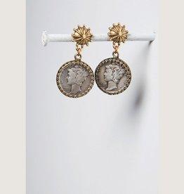Mark Edge Jewelry Vintage USA Mercury Dime Earring by Mark Edge