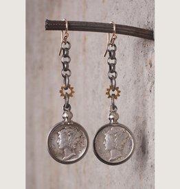 Mark Edge Jewelry Vintage US Mercury Dime Earring by Mark Edge