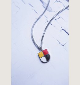 """Vintage Shield, Stainless Steel Chain, 18"""" Length Necklace"""