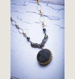 "Vintage Fendi Cabochon, 15-18"" Adj Length Necklace"
