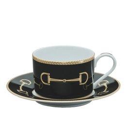 Julie Wear Cheval Black Cup & Saucer
