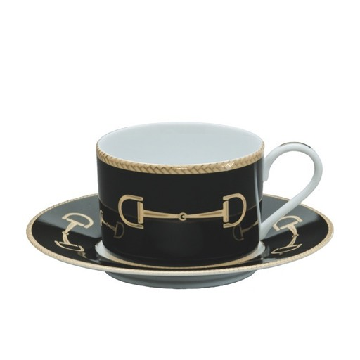 Julie Wear Cheval Black Cup & Saucer
