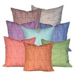 "steve mckenzie's Gingham Linen Pillow Oyster Background 20""x20"""