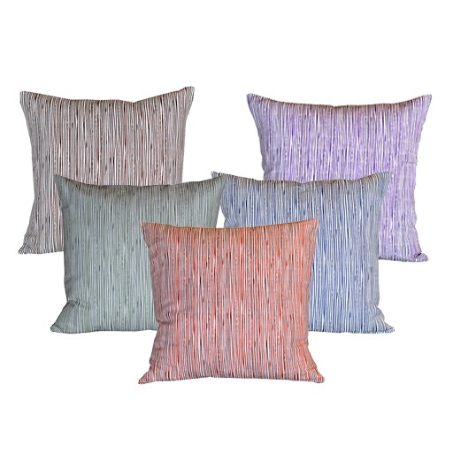 "steve mckenzie's Pinstripe Linen Pillow Oyster Background 20""x20"""