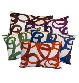 "steve mckenzie's Loop Linen Pillow Flax Background 14""x20"""
