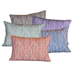 "steve mckenzie's Pinstripe Linen Pillow Oyster Background 14""x20"""