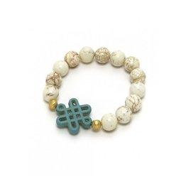 Hazen Jewelry Kathryn Bracelet White w Turquiose Howlite Celtic Knot
