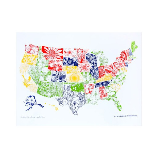 "Thimblepress USA State Flowers Print 18x24"""