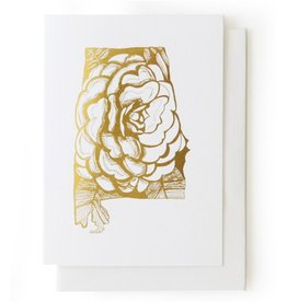 Thimblepress Alabama Camellia Gold Foil Card