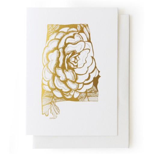 Thimblepress Alabama Camellia Gold Foil Card