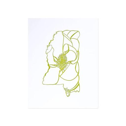 "Thimblepress Mississippi Magnolia Letterpress Print 11x14"""