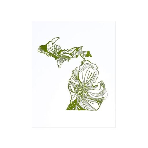 """Thimblepress Michigan Letterpress Print 11x14"""""""