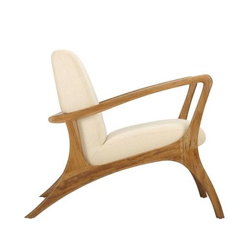 Selamat Soren Lounge Teak Chair-Grey Wash with Rice Fabric