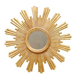 "28""D Gold Leafed Starburst Mirror"