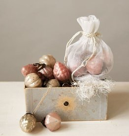 Mercury Glass Ornaments Pink and Gold S/36