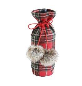 Plaid Wine Bag w/ Faux Fur Pom-Pom