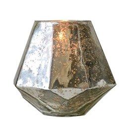 "Mercury Glass Hexagon 6""H"