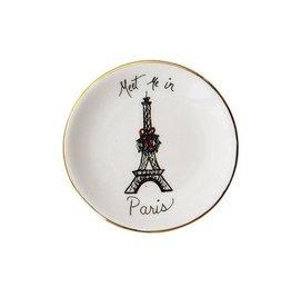 """Meet Me in Paris Christmas Ceramic Dish 3"""" Rnd"""