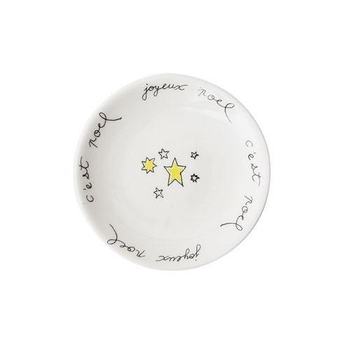 """Joyeux Noel w/ Stars Ceramic Dish 3"""" Rnd"""