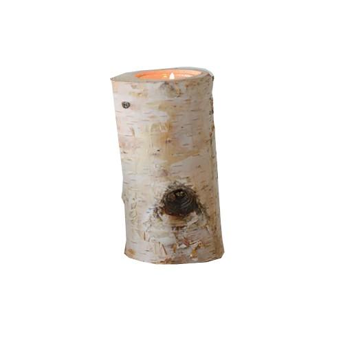 """Birch Tealight Holder w/ Glass Insert 3""""D x 6""""H"""