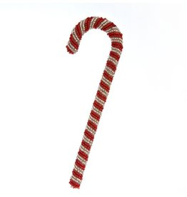 Beaded Red/White Candy Cane Ornament