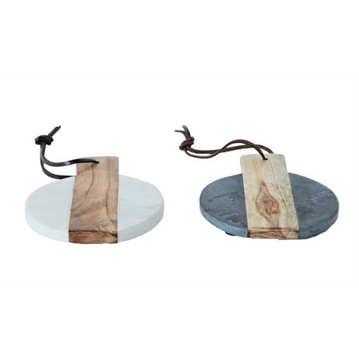 "6"" Round Marble & Wood Cheese board"