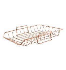 Desk Organizer Copper Stackable Paper Tray