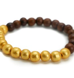 Hazen Jewelry Dk Brown Wood/Gold Bracelet