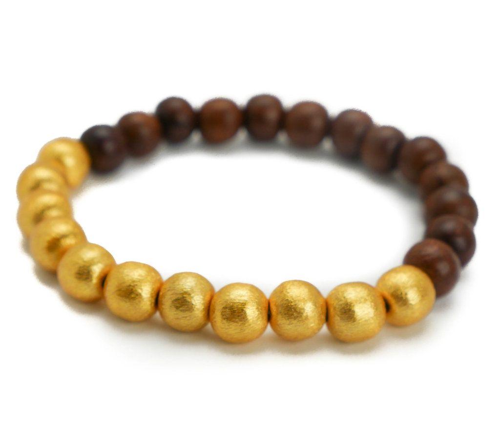 Hazen Jewelry Dk Brown Wood/Gold Bracelet