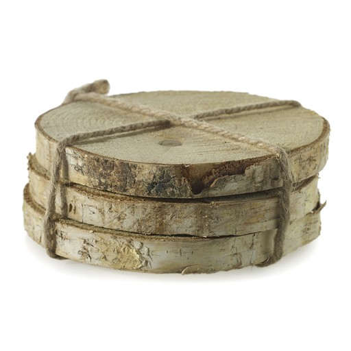 "Birch Coasters 6"" D Set/3"