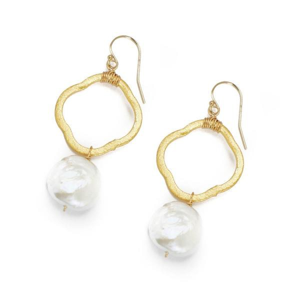 Hazen Jewelry Frances Earrings Pearl and Gold