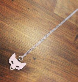 "Necklaces </li>Juniper Fox Necklace<li></li> white gold or gold plated fox<li></li> solid silver or soid gold chain<li></li> 23"" long</li>"