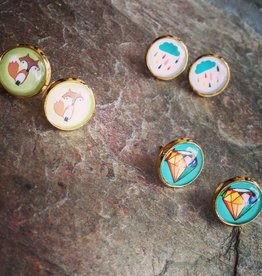 Earrings Farina Glass Photo Studs