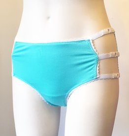 Underwear Bottoms Seafoam and White Mid Rise Cage Panties.