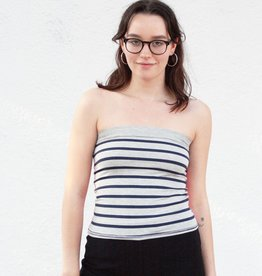 Tops Navy and Grey Sailor Striped Tube Tops.