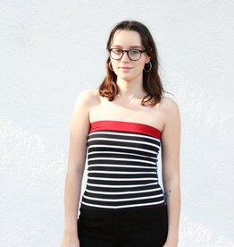 Tops Black and White Sailor Striped Tube Tops.