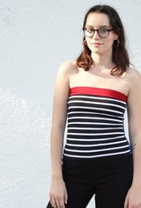 Tops Black and White Sailor Striped Tube Top