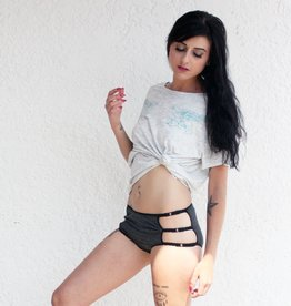 Underwear Bottoms Heather Grey and Black Mid Rise Cage Panties