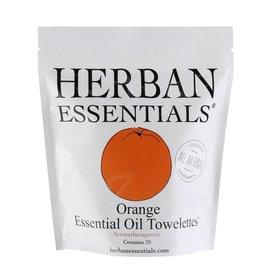 Herban Essentials 20 Individual Wrapped Orange Towelettes