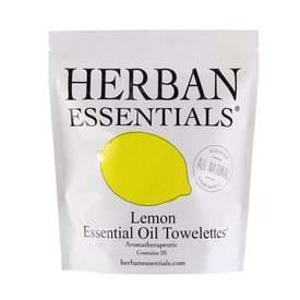 Herban Essentials 20 Individually Wrapped Lemon Towelettes