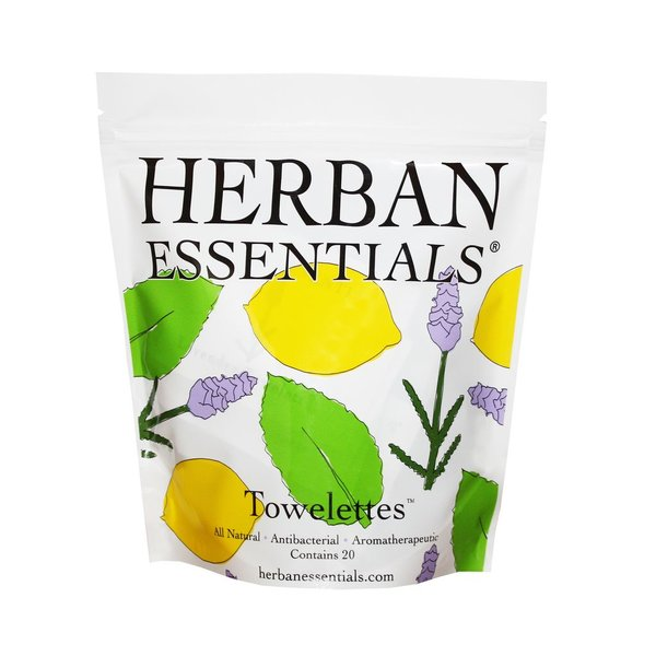 Herban Essentials 20 Individually Wrapped Towelettes- 3 Scents