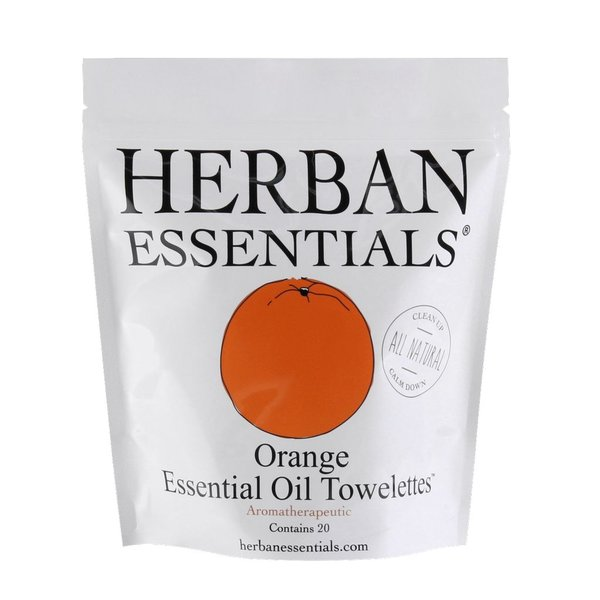 Herban Essentials 20 Individual Wrapped Orange Towelettes