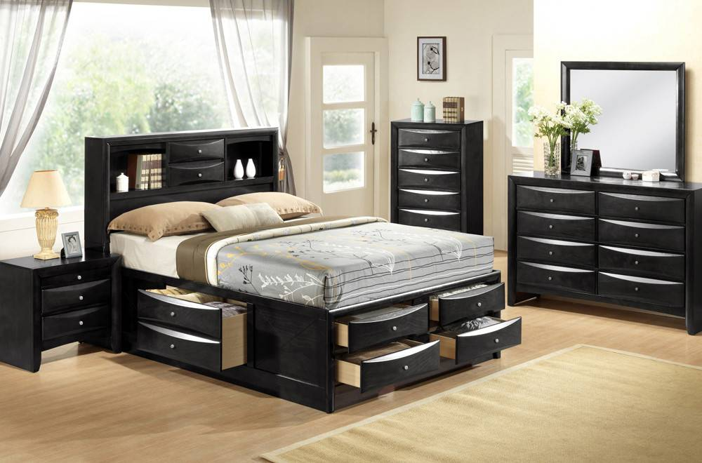 felicia grand lit double avec rangement noir meubles d co d p t. Black Bedroom Furniture Sets. Home Design Ideas